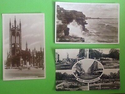 *3 X Vintage Postcards/stamps North East Newcastle West Hartlepool Whitley Bay*