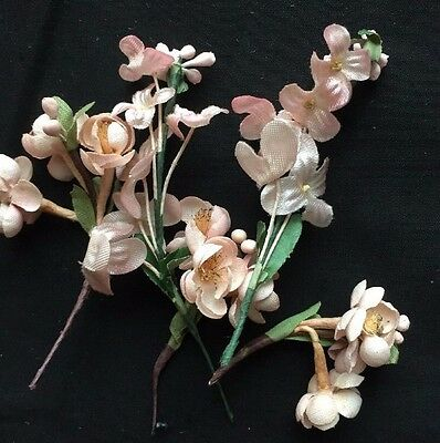 VTG Millinery Flowers Posies Corsage Boutonniere Apple Cherry Blossoms 5 Sprigs