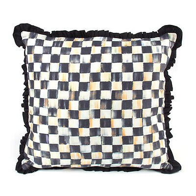 "MacKenzie-Childs Courtly Check Ruffled Square Pillow 18"" x 18"""