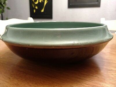 Vintage Red Wing Pottery 3 Quart Serving Bowl, Brown and Hazy Blue Green
