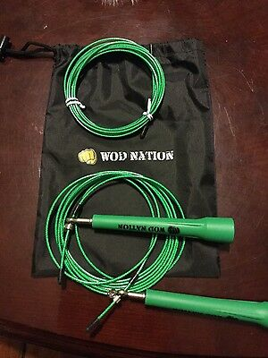WOD Nation Speed Jump Rope - Blazing Fast Rope, Green with spare rope