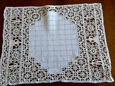 FAB 13 Pc Antique Italian Figural Reticella Lace and Linen Placemats Runner
