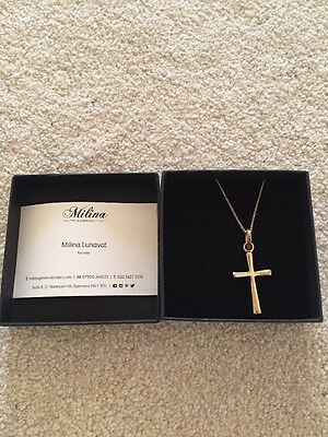 Milina gold cross pendant / necklace / silver, gold plated