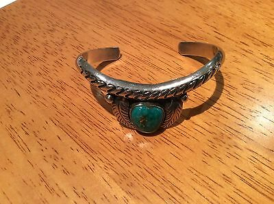 Navajo Vintage Silver And Turquoise Bangle Bracelet