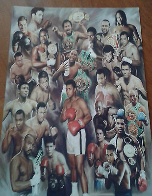 Boxing Legends Poster. Ali. Foreman. Mayweather. Lewis. Tyson. A4 Art Poster