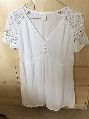 H&M mama Maternity White Lace Blouse Top S