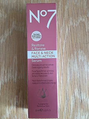 No7 Restore & Renew Face and Neck Multi Action Serum (30ml) Brand New, RRP £28!!