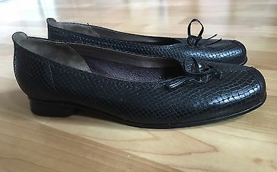 Gabor Black Leather Snakeskin Ballerina/ Ballet Style Pumps Size 6 Worn Once