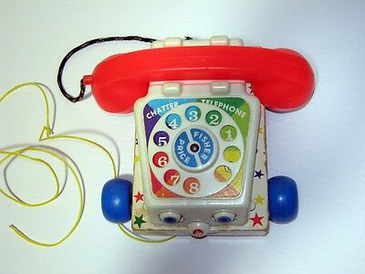 Vintage Chatter Fisher Price Telephone Pull Type Toy Moving Eyes Ringer 1961