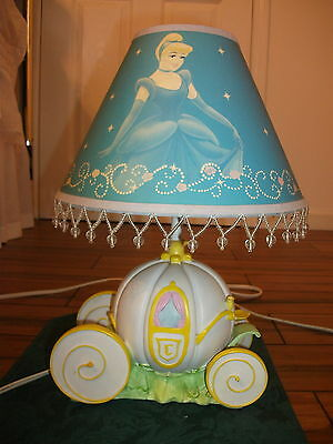 Disney Princess Cinderella  Lamp w Shade Pumpkin Coach Night  Light *RARE