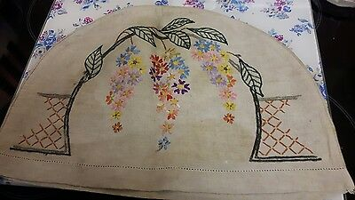 Vintage hand embroidered linen art deco teacosy