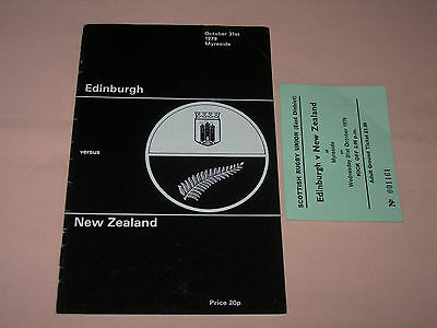 Edinburgh v New Zealand Rugby Union Programme + Ticket 1979 Myreside