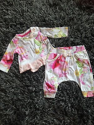 Girls Ted Baker Floral Outfit - 0-3 months (leggings & top)