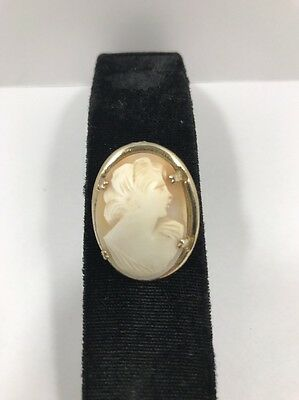 Vintage Cameo Signed Coro Carved Shell Pin Brooch Gold Tone Vtg Estate Jewelry