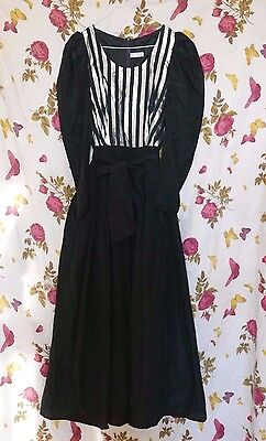 Vintage 1970s black taffeta ball gown/ cocktail/ party dress with silver stripes