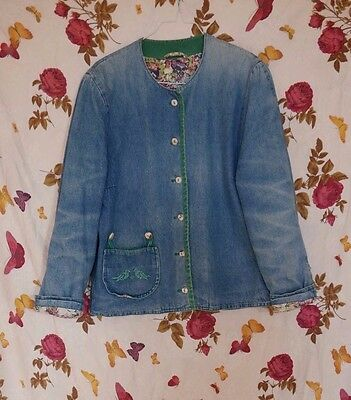 Vtg 80s workwear style quilted straight denim jacket cross-stitched birds 12