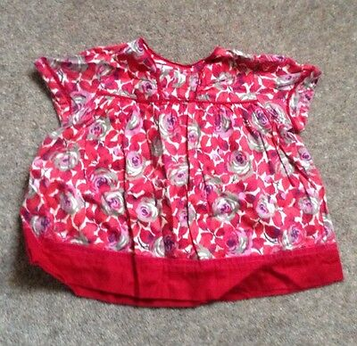 Girls Monsoon Red Floral Short sleeved Cotton Top Velvet Trim Age6-12 Months