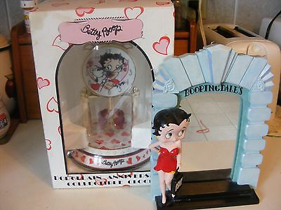 2007 Betty Boop Porcelain Anniversary Clock-Excellent-& Betty Boop Boopingdale's