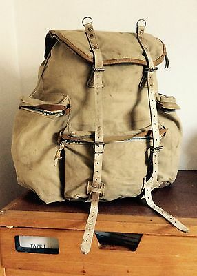 Original Vintage Early 1900s French Military Leather Canvas Rucksack
