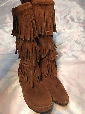 Minnetonka Brown Fringe Suede Leather Tall Boots Sz7 Indian