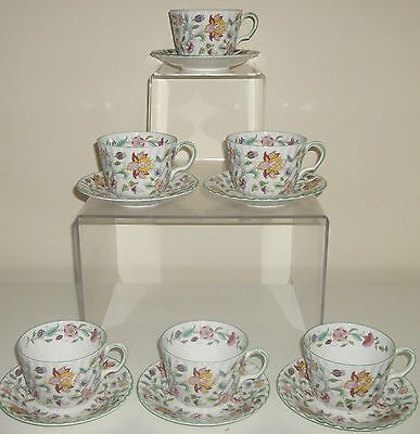 Minton Haddon Hall Set of 6 Breakfast Cups & Saucers First Quality Romany