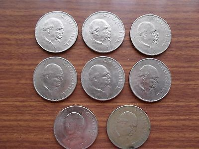 1965 CROWN COINS x 8 STRUCK TO COMMEMORATE THE DEATH OF WINSTON CHURCHILL