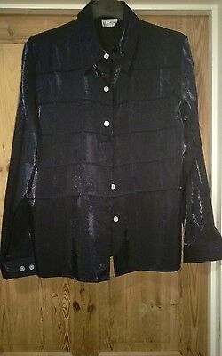 Gorgeous vintage shimmering midnigh blue blouse by le Caviar approx 41 ins chest