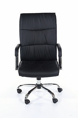 Computer Office Chair High Back Black Padded Faux Leather with Wheels
