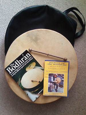 "18"" Irish Bodhran, made by Malachy Kearns, with carry case, beater & books"