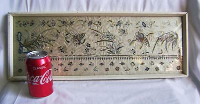 Antique Chinese White Silk Sleeve Band Embroidered with Butterflies in old frame