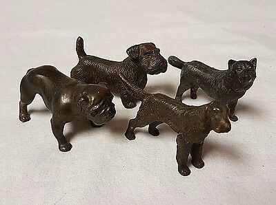Vintage Lot of 4 Cast Iron Paper Weight Dogs: Scotty, Husky, Bull Dog, Spaniel