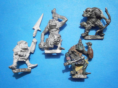 Damaged ; Games Workshop Citadel Fantasy Orcs (4 different). 1980s Metal