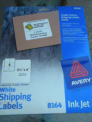 """New Avery White Shipping Labels Ink Jet Partial Box 103 Stick On Labels 31/3""""x4"""""""