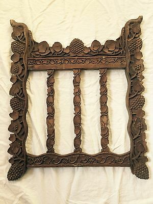 Antique Architectural Salvage Wood Wooden Carved Grapes Leaves Vines 29 X 24.5""