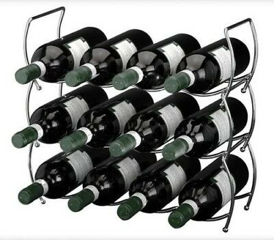 3 Tier Stackable Chrome Wine Storage Display Rack Holder Up To 12 Bottles. MTS