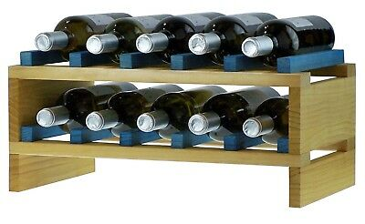 expovinalia ex2710 - Stackable Wine Rack for 10 Bottles, Wooden, Pine and Blue