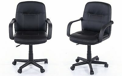 Computer Office Desk Faux Leather Swivel Chair Barber Salon Stool with Wheels