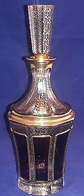 Antique Bohemian Moser Cranberry Glass Gilded Decanter Perfume / Cologne Bottle