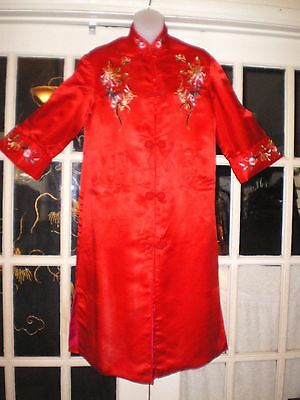 Stunning Vtg Chinese Long Red Silk Jacket/Robe Embroidered w/Chrysanthemums