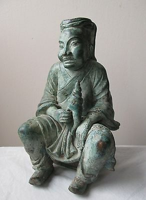Antique 12th century Chinese SONG  DYNASTY bronze figure of MAN with shell CONCH
