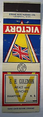 Antique Matchbook Cover G H Coleman Hampton New Brunswick Near Sussex Wwii