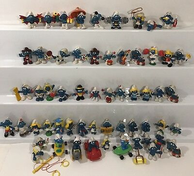 Lot Of 58 Smurfs Vtg Figures 1960-1990's Germany Hong Kong Schleich Peyo
