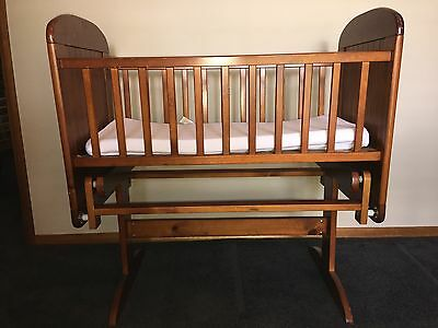 Baby Rocking Bassinette Cot Timber