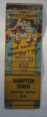 Antique Matchbook Cover  Hampton Station Diner New Brunswick Near Sussex Nb