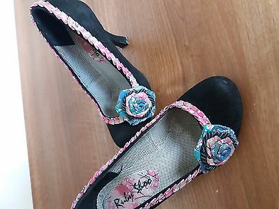 Ladies Ruby Black Leather Shoo Shoes Size UK 3 Eur 36 - Worn Once