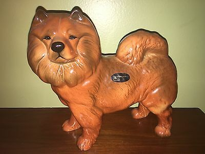 Large Vintage Chow Chow Dog Figurine, Figural Dog Made In England