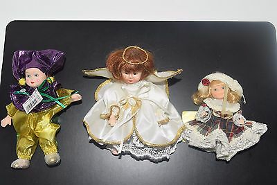 Lot Of 3 Vintage Miniature Porcelain Rare Combo Angle, Clown and A Fancy Friends