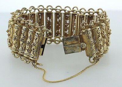 Antique Chinese Gold Gilt Floral Filigree Sterling Silver Chain Bracelet - 6.25""