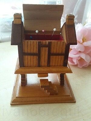 Pincushion ~ Miniatue wooden Korean handmade house  ~  detailed  ~  13x11x8cm  ~