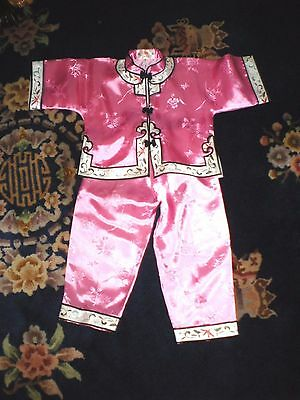 Darling Vintage Chinese Pink Silk Embroidered w/Flowers Outfit-Jacket & Pants
